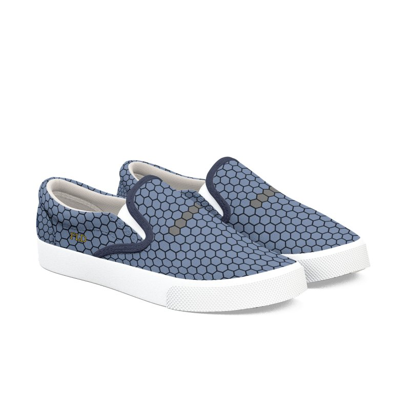 FLD Blue Honeycomb Shoes Women's Slip-On Shoes by falconlara.design shop