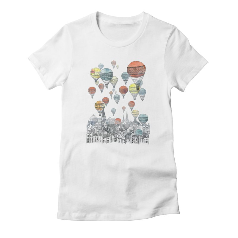Voyages Over Edinburgh Women's Fitted T-Shirt by fleck's Artist Shop