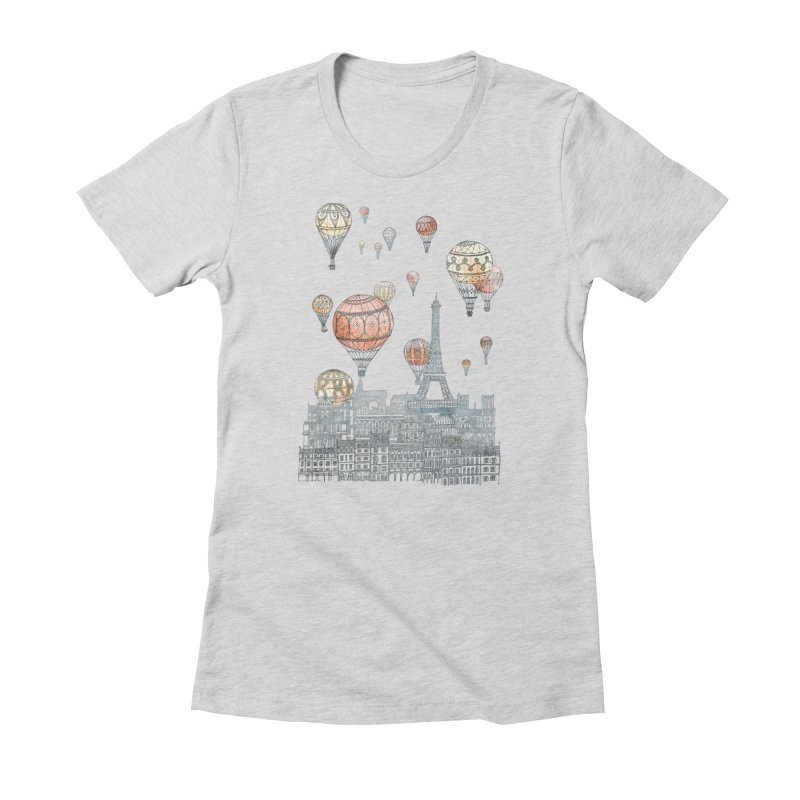 Voyages Over Paris Women's Fitted T-Shirt by fleck's Artist Shop