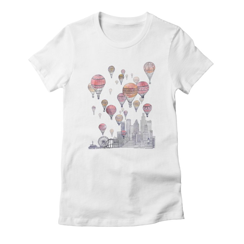 Voyages Over Santa Monica Women's Fitted T-Shirt by fleck's Artist Shop