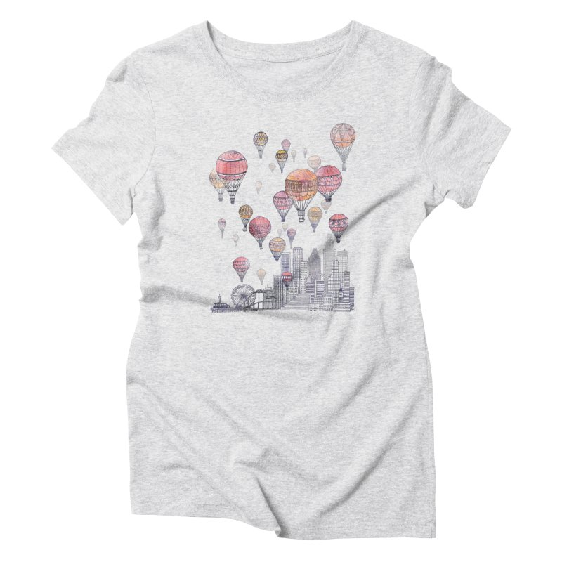 Voyages Over Santa Monica Women's Triblend T-shirt by fleck's Artist Shop