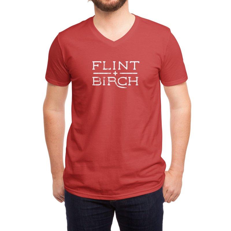 """Flint + Birch"" White Men's V-Neck by Flint + Birch"