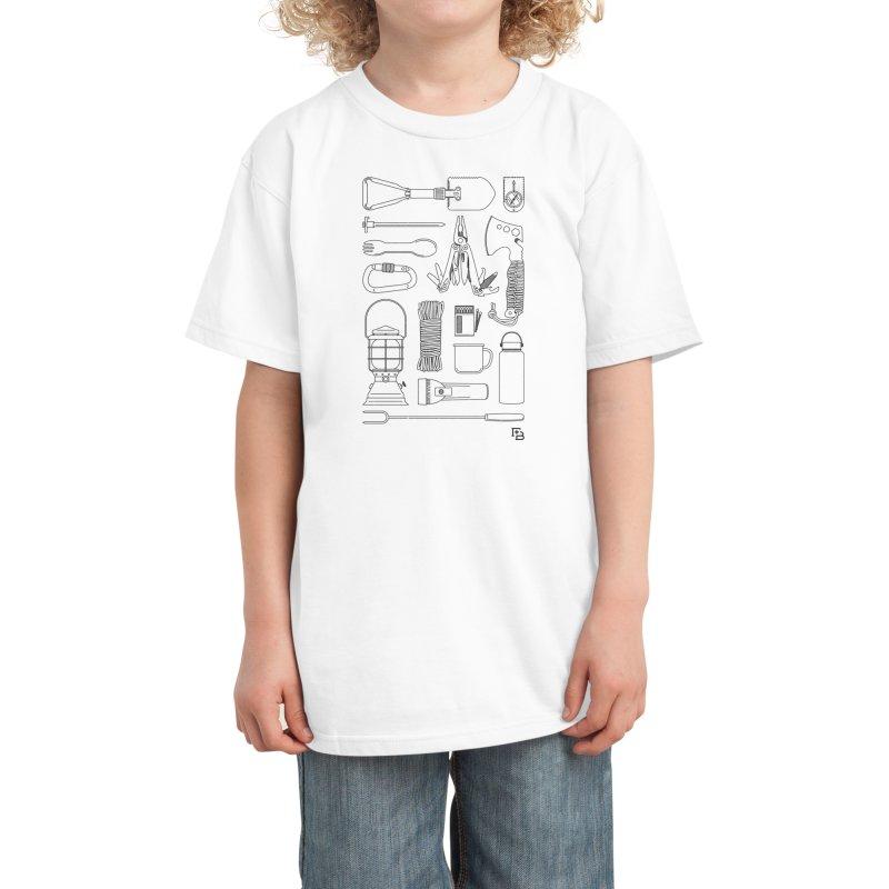 """Survival Kit"" Black Kids T-Shirt by Flint + Birch"