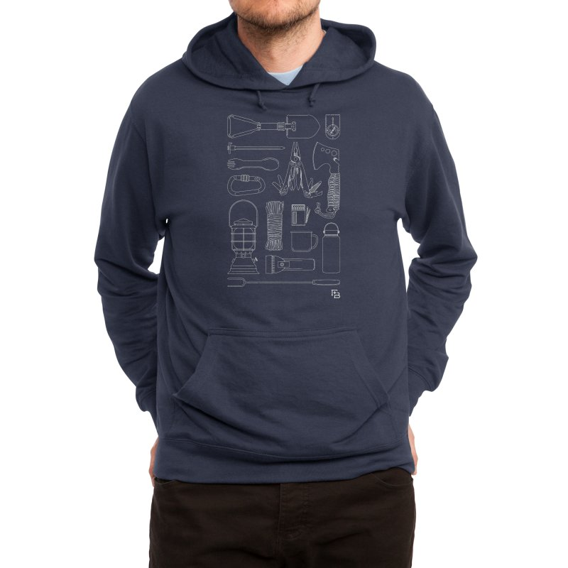 """Survival Kit"" White Men's Pullover Hoody by Flint + Birch"