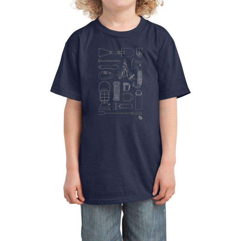 """Survival Kit"" White Kids T-Shirt by Flint + Birch"