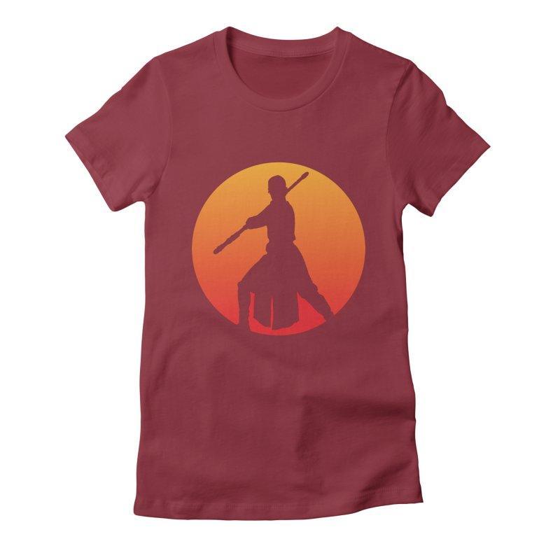 Awaken in Women's Fitted T-Shirt Scarlet Red by FloresArts