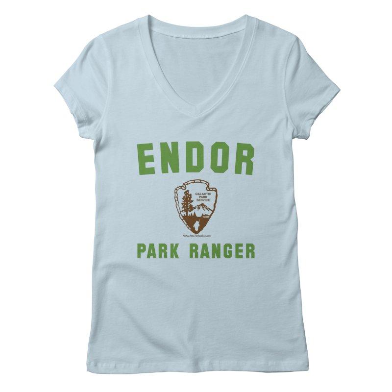 Endor Park Ranger Women's Regular V-Neck by FloresArts