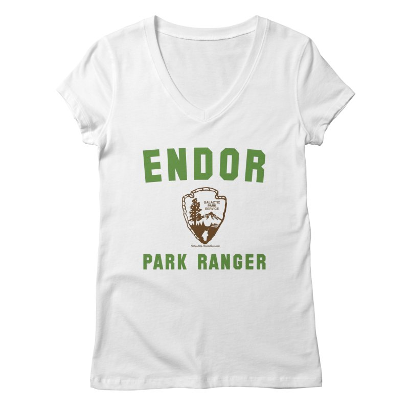 Endor Park Ranger Women's Regular V-Neck by FloresArts