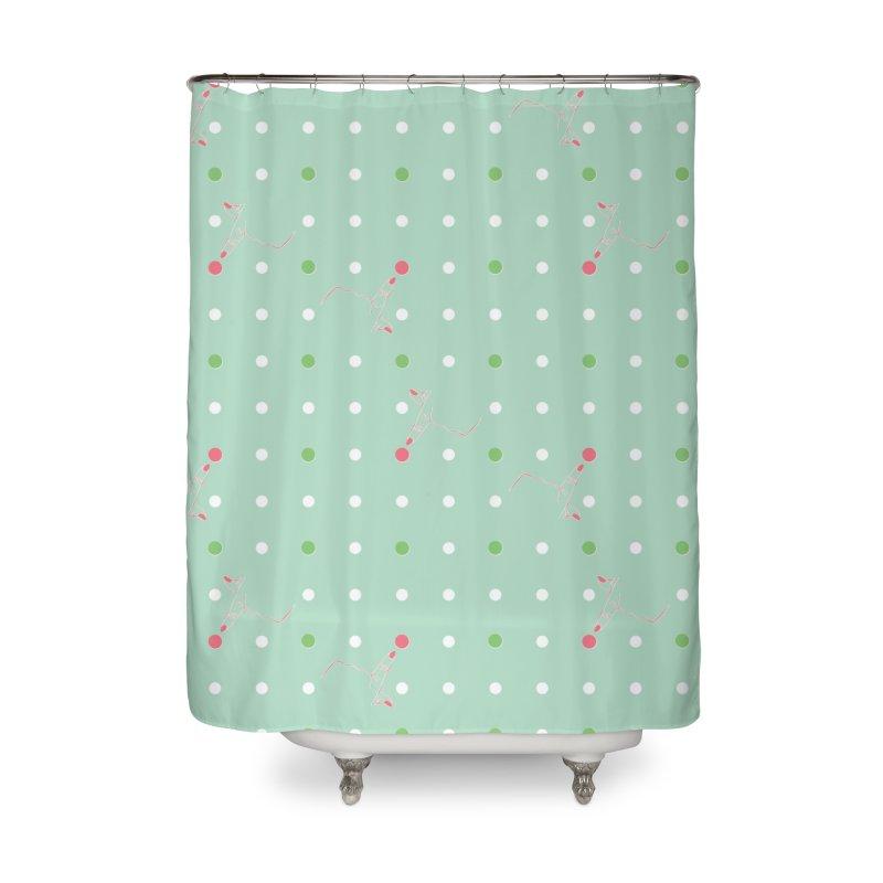 Poke-a-dot Green Pattern Home Shower Curtain by Flourish & Flow's Artist Shop