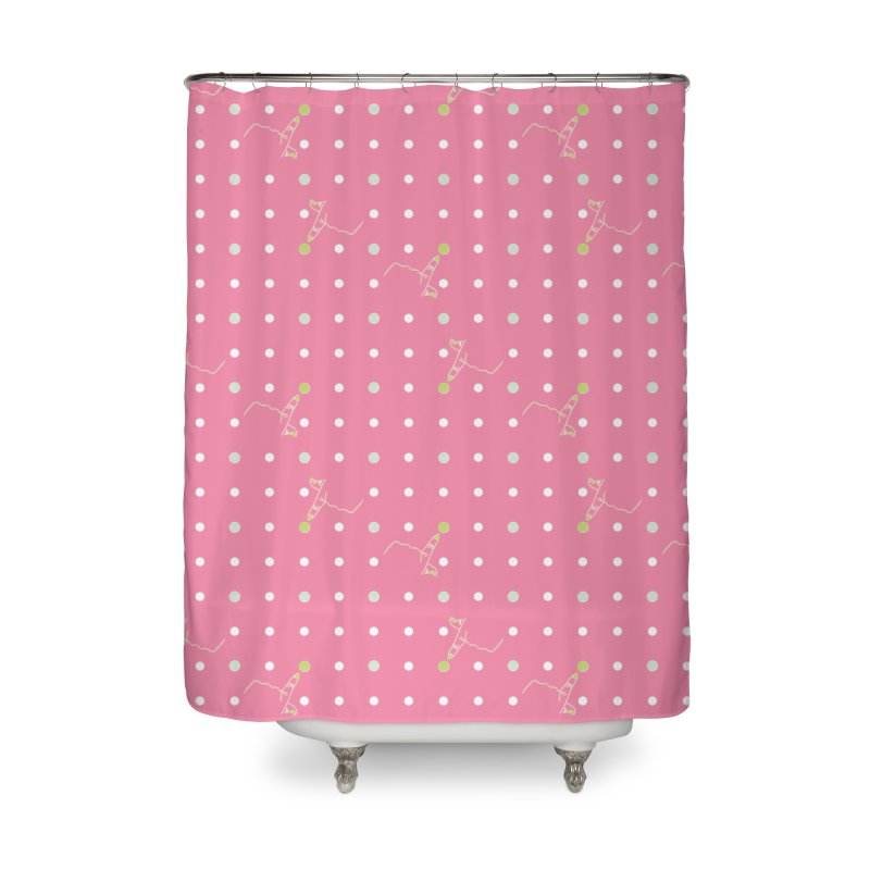 Pink Poke-a-dot Pattern Home Shower Curtain by Flourish & Flow's Artist Shop