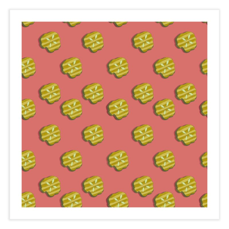 Retro Pink Pickle Pattern Home Fine Art Print by Flourish & Flow's Artist Shop