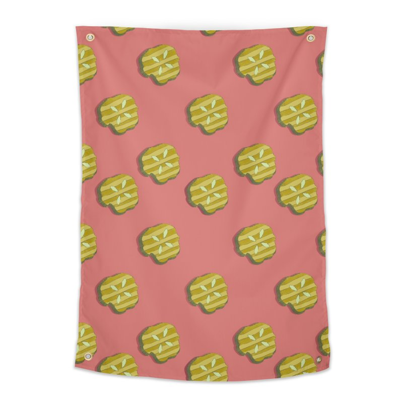 Retro Pink Pickle Pattern Home Tapestry by Flourish & Flow's Artist Shop