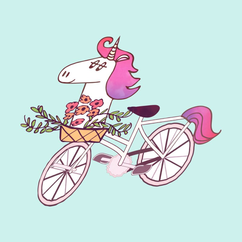Uni-cycle illustration - unicorn hipster bicycle with flowers basket, watercolor style by Flourish & Flow's Artist Shop