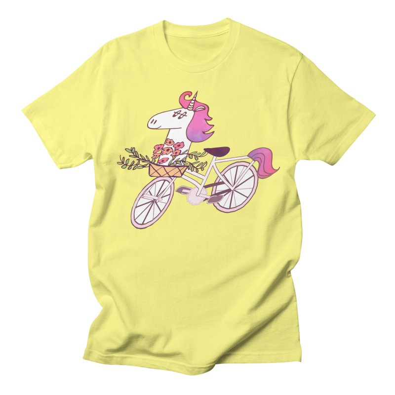 Uni-cycle illustration - unicorn hipster bicycle with flowers basket, watercolor style Men's T-Shirt by Flourish & Flow's Artist Shop
