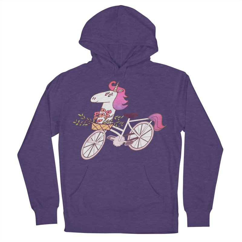 Uni-cycle illustration - unicorn hipster bicycle with flowers basket, watercolor style Women's Pullover Hoody by Flourish & Flow's Artist Shop