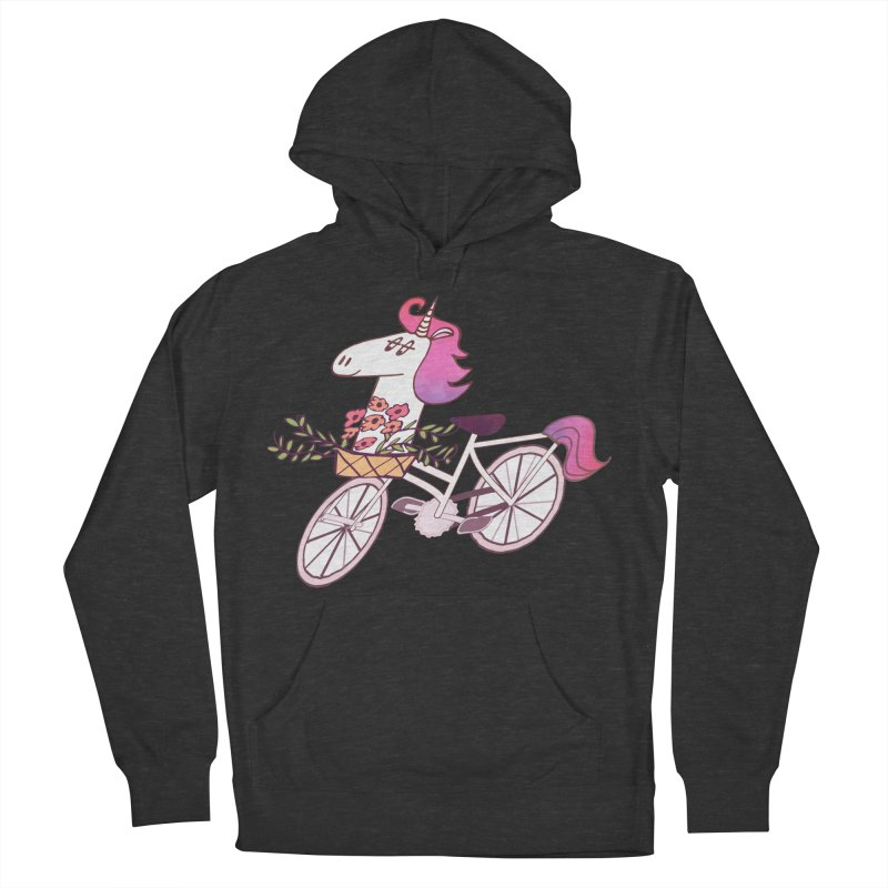 Uni-cycle illustration - unicorn hipster bicycle with flowers basket, watercolor style Men's Pullover Hoody by Flourish & Flow's Artist Shop