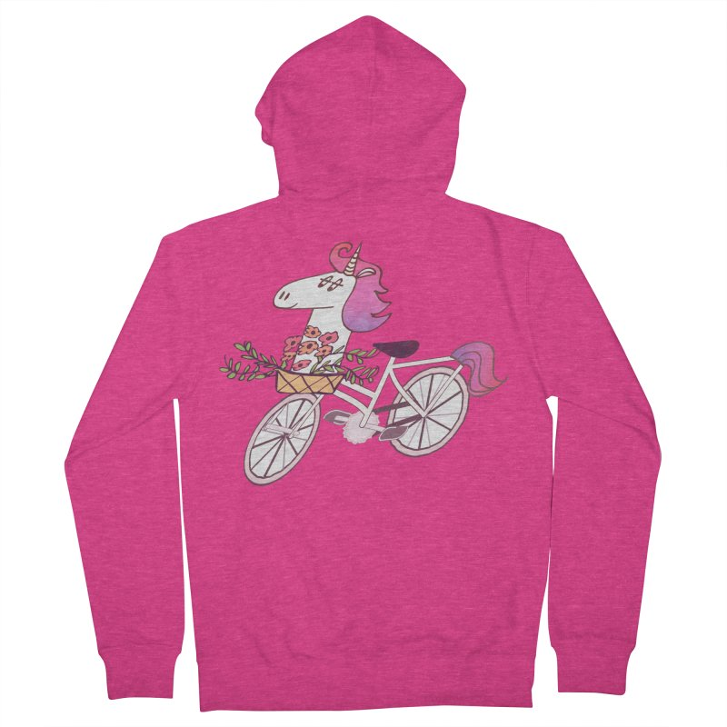 Uni-cycle illustration - unicorn hipster bicycle with flowers basket, watercolor style Women's Zip-Up Hoody by Flourish & Flow's Artist Shop