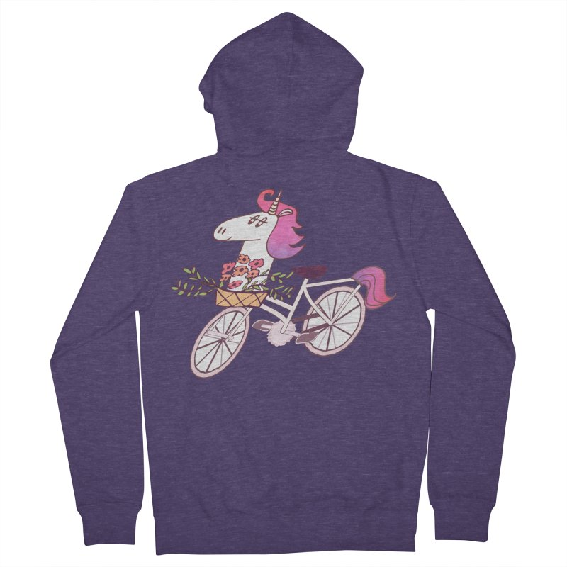 Uni-cycle illustration - unicorn hipster bicycle with flowers basket, watercolor style Men's Zip-Up Hoody by Flourish & Flow's Artist Shop