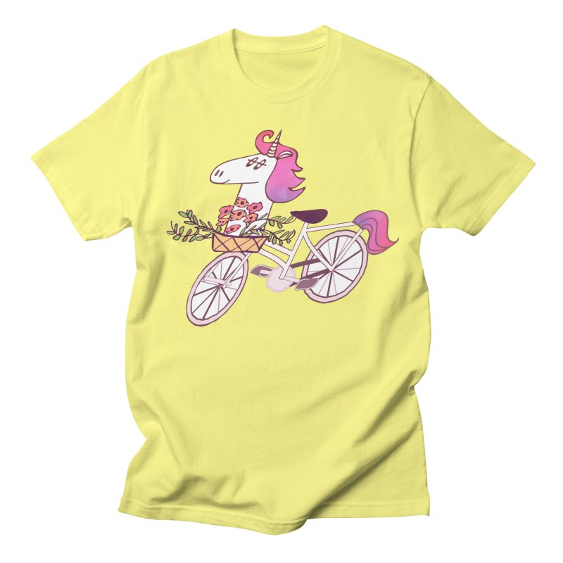 Uni-cycle illustration - unicorn hipster bicycle with flowers basket, watercolor style Women's Unisex T-Shirt by Flourish & Flow's Artist Shop