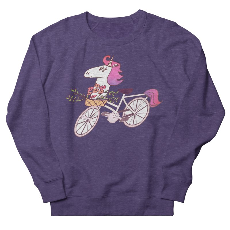 Uni-cycle illustration - unicorn hipster bicycle with flowers basket, watercolor style Women's Sweatshirt by Flourish & Flow's Artist Shop