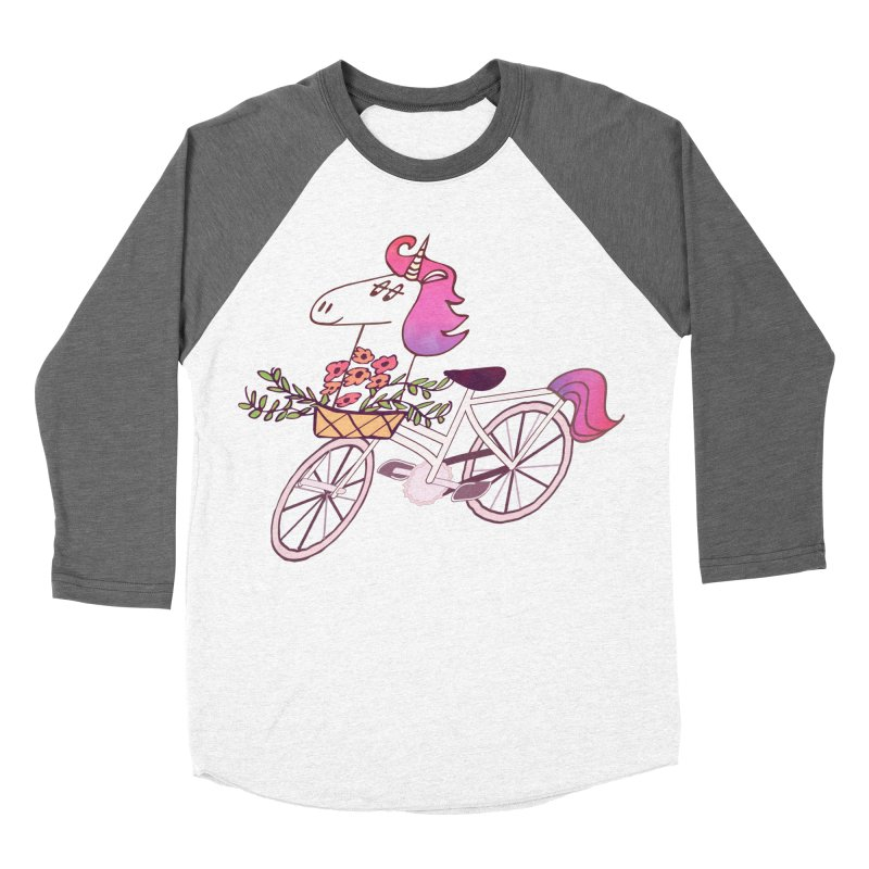 Uni-cycle illustration - unicorn hipster bicycle with flowers basket, watercolor style Men's Baseball Triblend T-Shirt by Flourish & Flow's Artist Shop