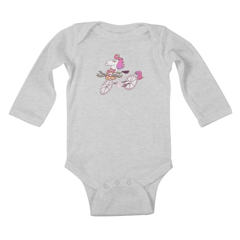 Uni-cycle illustration - unicorn hipster bicycle with flowers basket, watercolor style Kids Baby Longsleeve Bodysuit by Flourish & Flow's Artist Shop