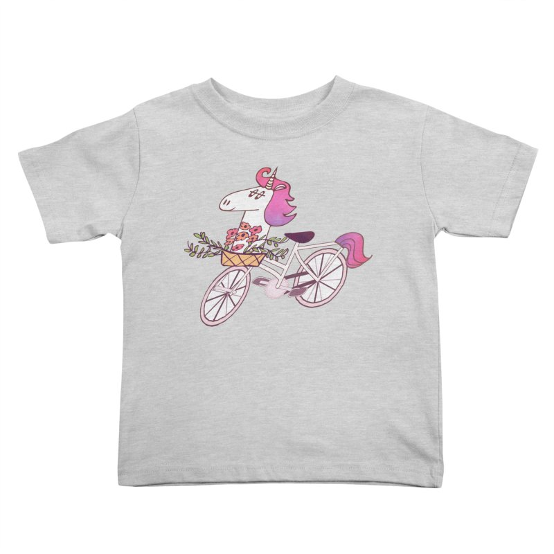Uni-cycle illustration - unicorn hipster bicycle with flowers basket, watercolor style Kids Toddler T-Shirt by Flourish & Flow's Artist Shop