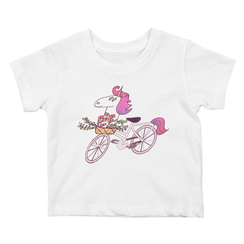 Uni-cycle illustration - unicorn hipster bicycle with flowers basket, watercolor style Kids Baby T-Shirt by Flourish & Flow's Artist Shop