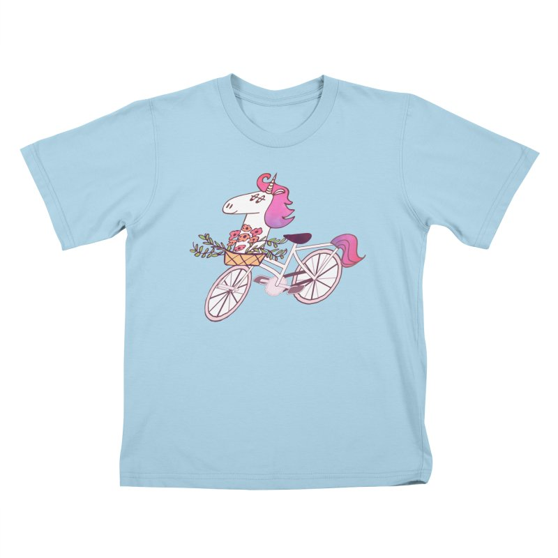 Uni-cycle illustration - unicorn hipster bicycle with flowers basket, watercolor style Kids T-shirt by Flourish & Flow's Artist Shop