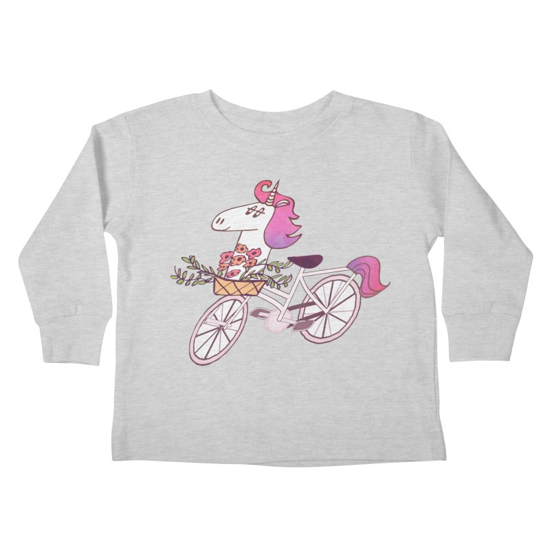 Uni-cycle illustration - unicorn hipster bicycle with flowers basket, watercolor style Kids Toddler Longsleeve T-Shirt by Flourish & Flow's Artist Shop