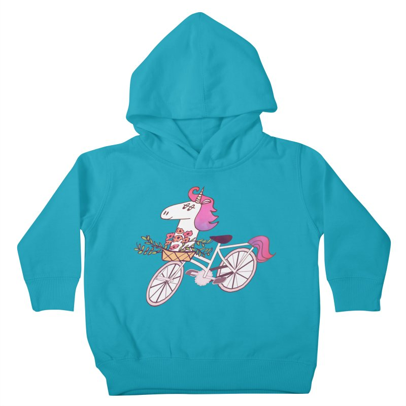 Uni-cycle illustration - unicorn hipster bicycle with flowers basket, watercolor style Kids Toddler Pullover Hoody by Flourish & Flow's Artist Shop