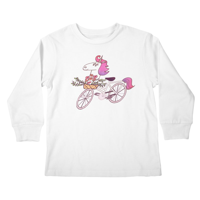 Uni-cycle illustration - unicorn hipster bicycle with flowers basket, watercolor style Kids Longsleeve T-Shirt by Flourish & Flow's Artist Shop