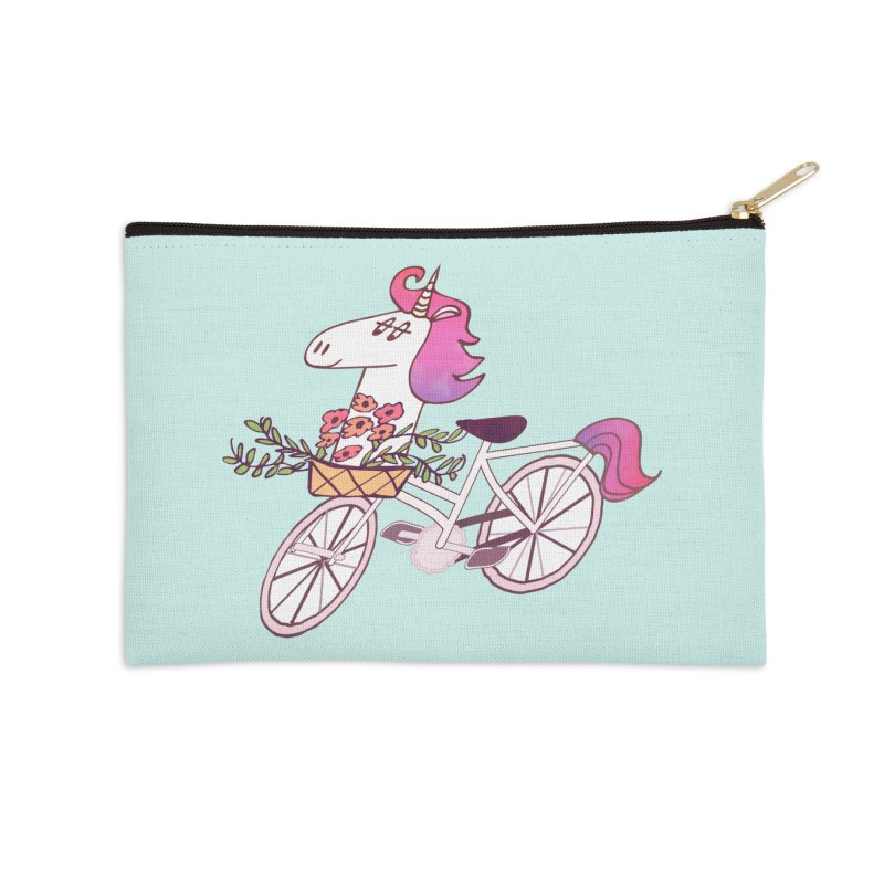 Uni-cycle illustration - unicorn hipster bicycle with flowers basket, watercolor style Accessories Zip Pouch by Flourish & Flow's Artist Shop