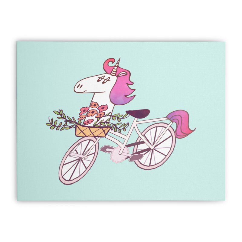 Uni-cycle illustration - unicorn hipster bicycle with flowers basket, watercolor style Home Stretched Canvas by Flourish & Flow's Artist Shop