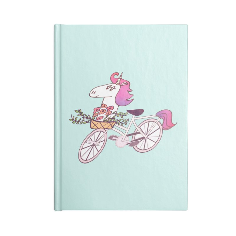 Uni-cycle illustration - unicorn hipster bicycle with flowers basket, watercolor style Accessories Notebook by Flourish & Flow's Artist Shop