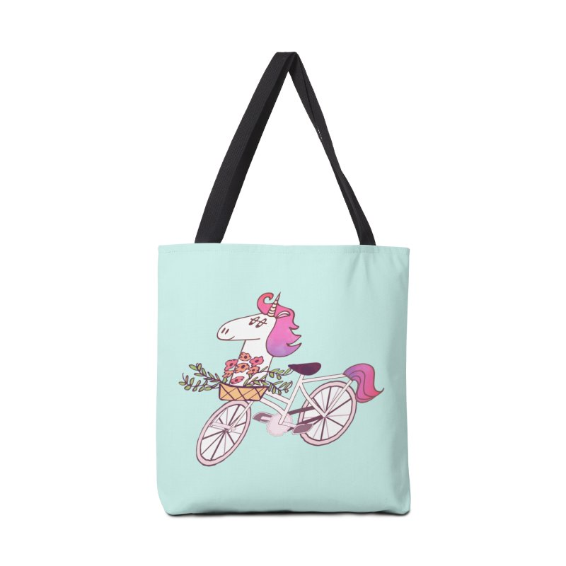 Uni-cycle illustration - unicorn hipster bicycle with flowers basket, watercolor style Accessories Bag by Flourish & Flow's Artist Shop