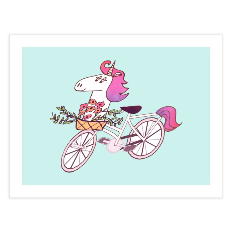 Uni-cycle illustration - unicorn hipster bicycle with flowers basket, watercolor style Home Fine Art Print by Flourish & Flow's Artist Shop