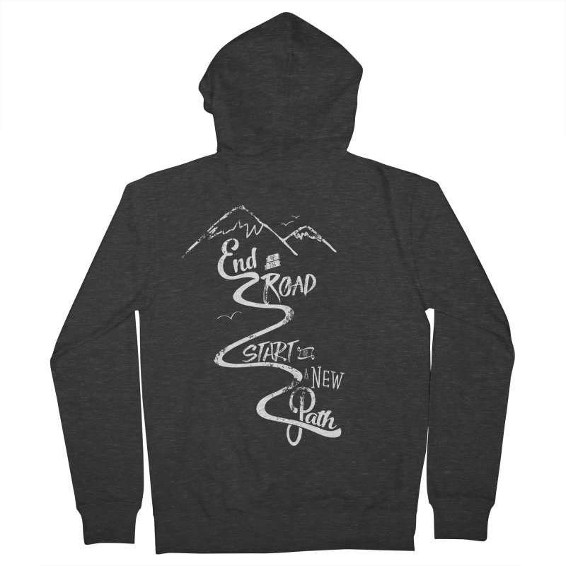 End of the Road Journey Adventure Shirt White Men's Zip-Up Hoody by Flourish & Flow's Artist Shop