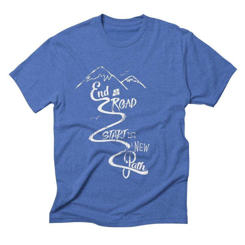 End of the Road Journey Adventure Shirt White Men's Triblend T-shirt by Flourish & Flow's Artist Shop
