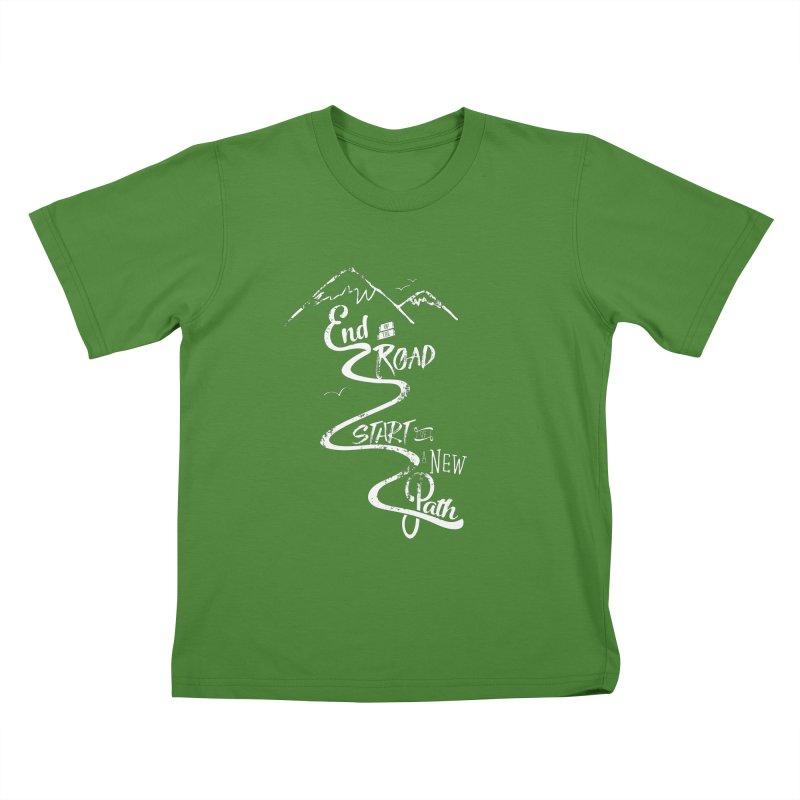 End of the Road Journey Adventure Shirt White Kids T-Shirt by Flourish & Flow's Artist Shop