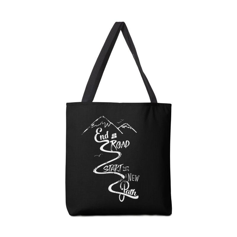 End of the Road Journey Adventure Shirt White Accessories Bag by Flourish & Flow's Artist Shop