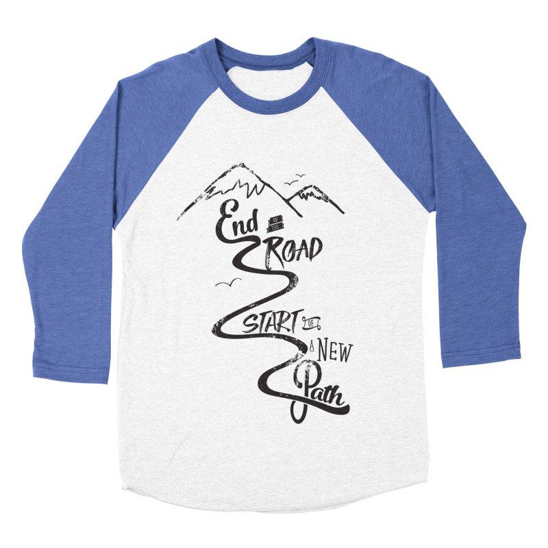 End of the Road Journey Adventure Shirt Black Men's Baseball Triblend T-Shirt by Flourish & Flow's Artist Shop