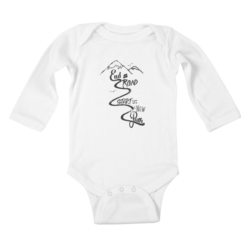 End of the Road Journey Adventure Shirt Black Kids Baby Longsleeve Bodysuit by Flourish & Flow's Artist Shop