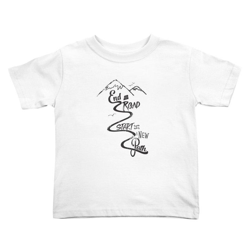 End of the Road Journey Adventure Shirt Black Kids Toddler T-Shirt by Flourish & Flow's Artist Shop