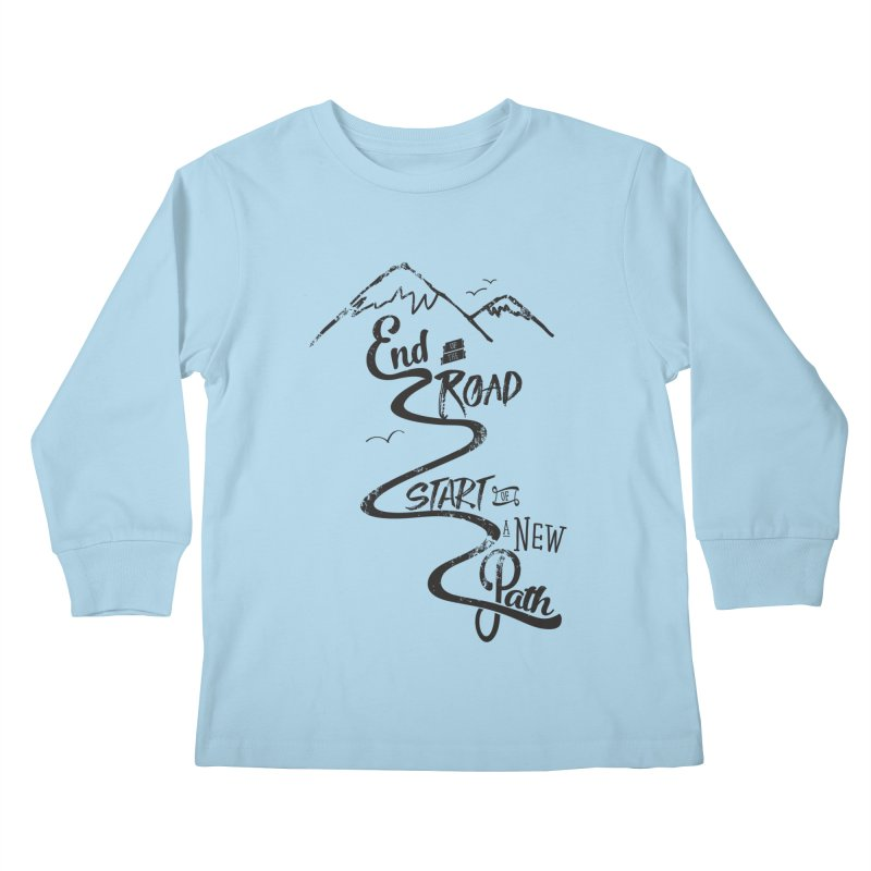 End of the Road Journey Adventure Shirt Black Kids Longsleeve T-Shirt by Flourish & Flow's Artist Shop