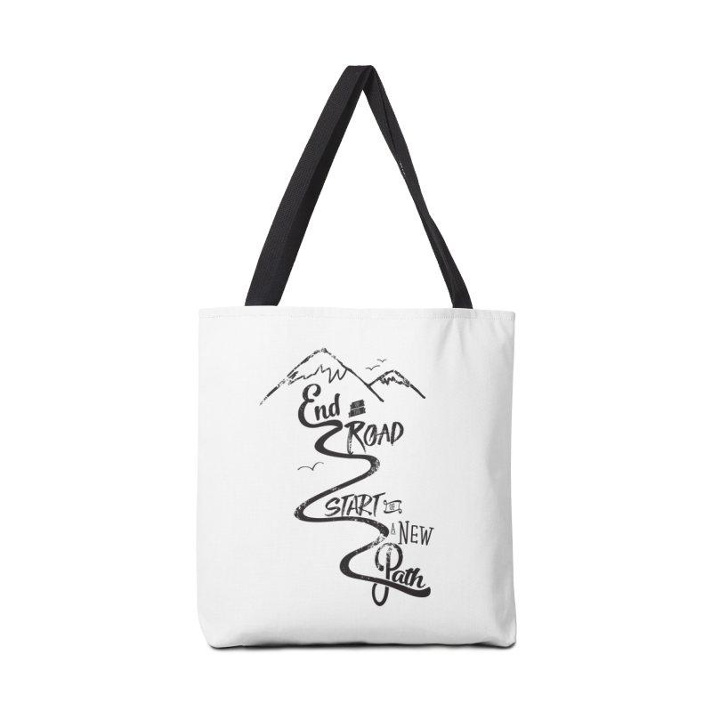 End of the Road Journey Adventure Shirt Black Accessories Bag by Flourish & Flow's Artist Shop