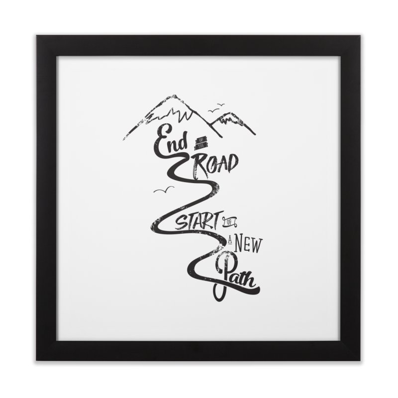 End of the Road Journey Adventure Shirt Black Home Framed Fine Art Print by Flourish & Flow's Artist Shop