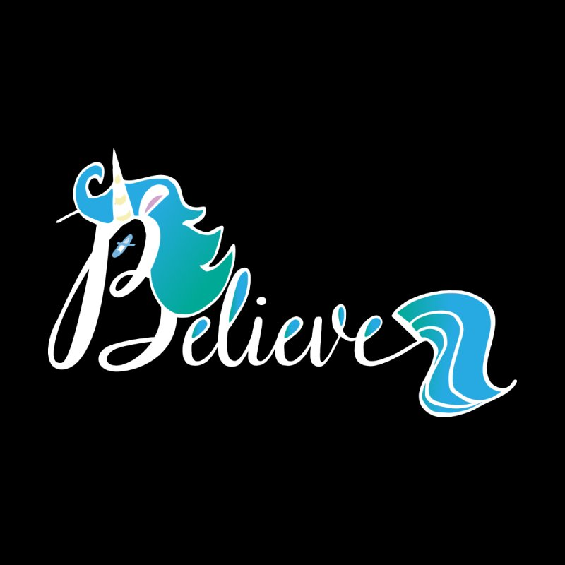 Believe Blue Aqua Unicorn Illustration Art Shirt T-Shirt T-Shirt Home Rug by Flourish & Flow's Artist Shop
