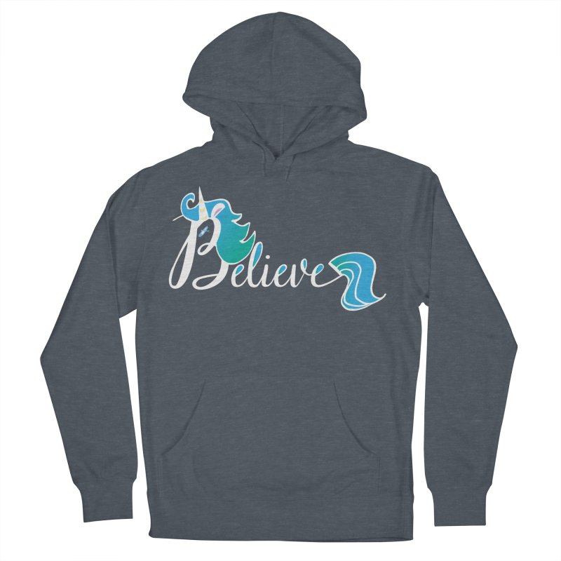 Believe Blue Aqua Unicorn Illustration Art Shirt T-Shirt T-Shirt Men's Pullover Hoody by Flourish & Flow's Artist Shop