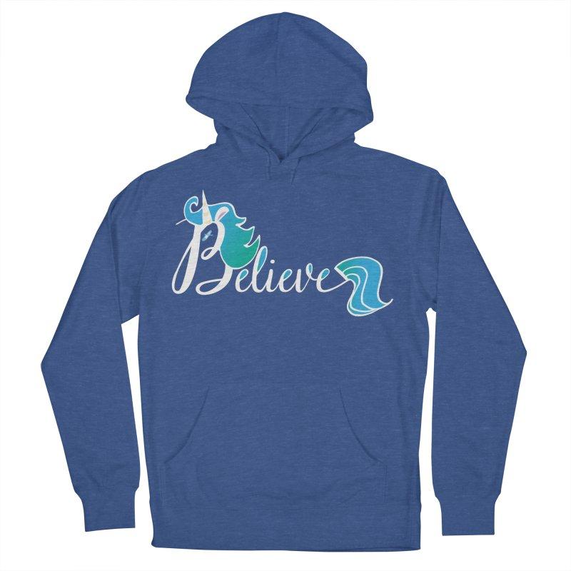 Believe Blue Aqua Unicorn Illustration Art Shirt T-Shirt T-Shirt Men's French Terry Pullover Hoody by Flourish & Flow's Artist Shop